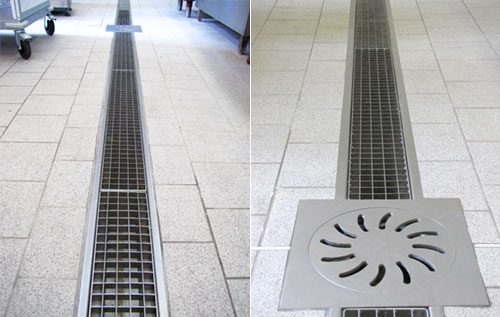 Channel and grate in stainless steel drainage system for kitchen RAY 122