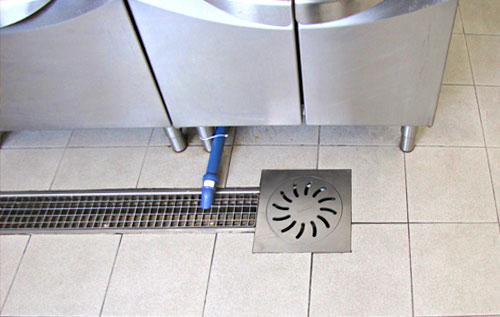 Channel drain and floor drain with grate, drainage system for kitchen, restaurant and fish shop RAY122