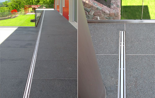 Channel drain, catch basin, floor drain, channel drain in stainless steel, drainage system for terraces and balconies