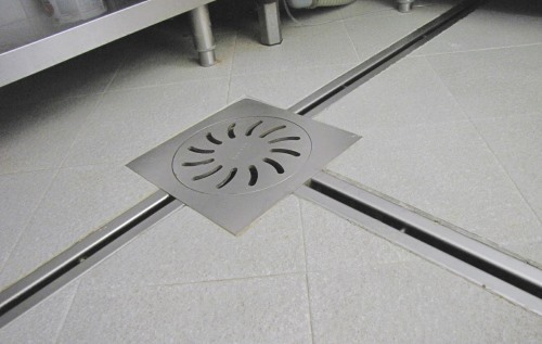 channel drain, floor drain, catch basin, slit inspection cover stainless steel for industrial kitchen RAY122, RAY17