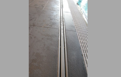 channel drain with double slit in stainless steel, gratings and drainage system for swimming pool and gym RAY12, RAY17