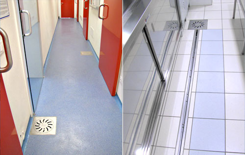 Inspection covers, floor drains,channel in stainless steel for food laboratories