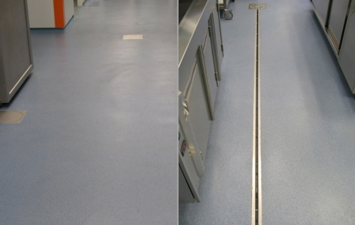 Inspection cover, floor drain, channel drain with slit and drainage system in stainless steel for food industry RAY17