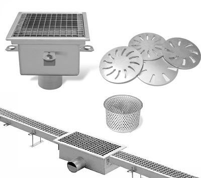 Accessories for floor drains catch basins grates channel with gratings stainless steel drainage system