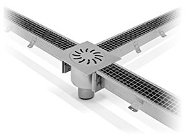 Channel drain in stainless steel grate channel drain with grating in stainless steel - grate - canalina-griglia thmb